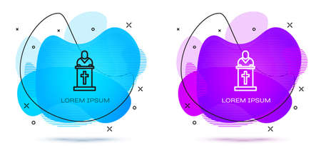 Line Church pastor preaching icon isolated on white background. Abstract banner with liquid shapes. Vector Illustration