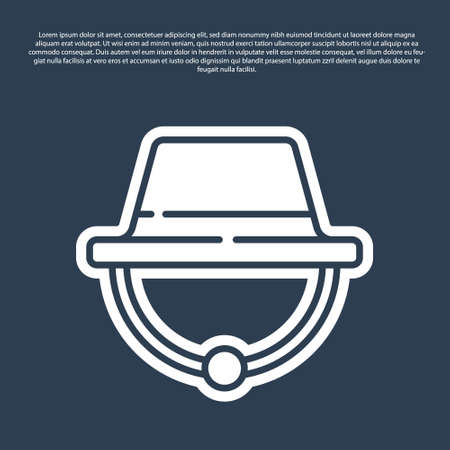 Blue line Camping hat icon isolated on blue background. Beach hat panama. Explorer travelers hat for hunting, hiking, tourism. Vector Illustration