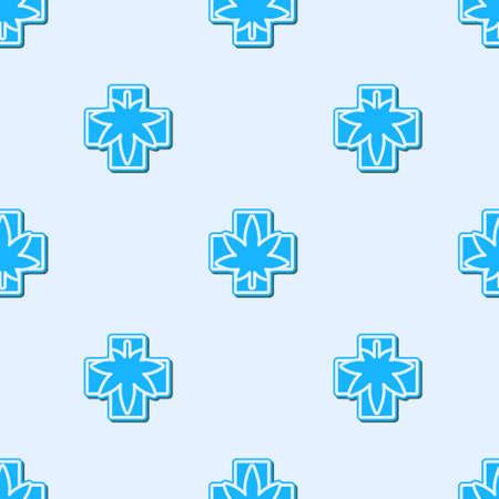 Blue line Medical marijuana or cannabis leaf icon isolated seamless pattern on grey background. Hemp symbol. Vector Illustration Vecteurs