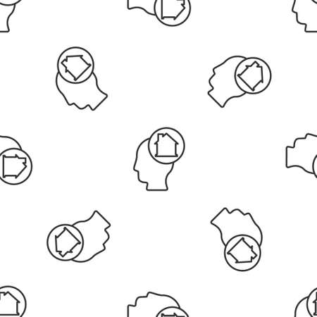 Grey line Man dreaming about buying a new house icon isolated seamless pattern on white background. Vector