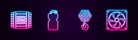 Set line Wooden barrel with rum, Sport bottle water, Industrial hook and Computer cooler. Glowing neon icon. Vector Illusztráció