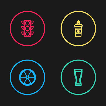 Set line Radioactive, Glass of beer, Coffee cup and Traffic light icon. Vector