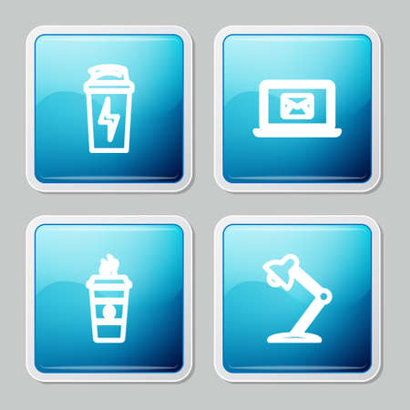 Set line Fitness shaker, Laptop with envelope, Coffee cup and Table lamp icon. Vector