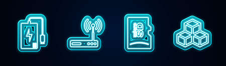 Set line Power bank, Router and, Micro SD memory card and Isometric cube. Glowing neon icon. Vector 矢量图像