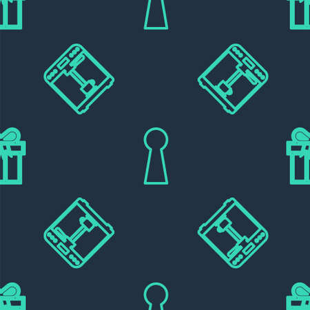 Set line Keyhole, Coffee machine and cup and Gift box on seamless pattern. Vector