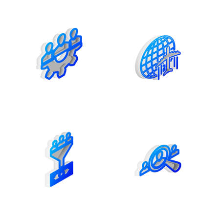 Set Isometric line Globe with flying plane, Project team base, Lead management and Magnifying glass for search people icon. Vector