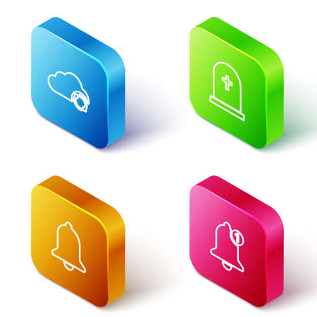Set Isometric line Cloud sync refresh, Tombstone with cross, Ringing bell and Bell icon. Vector
