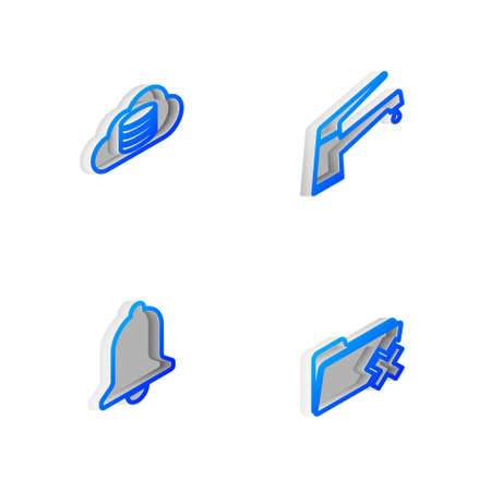 Set Isometric line Water tap, Cloud database, Ringing bell and Delete folder icon. Vector  イラスト・ベクター素材