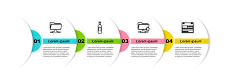 Set line FTP folder, Bottle of wine, upload and Calendar. Business infographic template. Vector