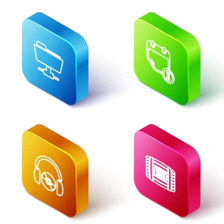Set Isometric line FTP folder, Calendar and clock, Headphones CD or DVD and Wooden barrel for wine icon. Vector 矢量图像