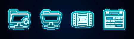 Set line FTP sync refresh, folder, Wooden barrel for wine and Calendar. Glowing neon icon. Vector 矢量图像