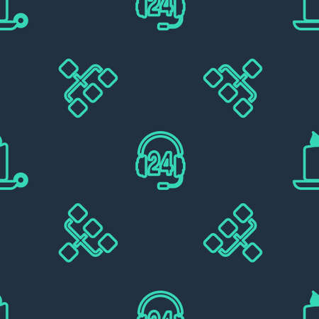 Set line Headphone for support, Hierarchy organogram chart and Burning candle in candlestick on seamless pattern. Vector  イラスト・ベクター素材