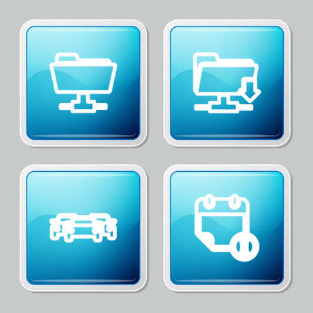 Set line FTP folder, download, Cars and Calendar and clock icon. Vector 矢量图像