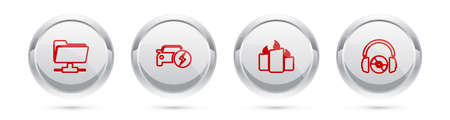 Set line FTP folder, Electric car, Burning candles and Headphones CD or DVD. Silver circle button. Vector