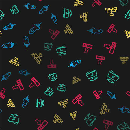 Set line Rocket ship with fire, FTP operation successful, Folder tree and Loading on seamless pattern. Vector