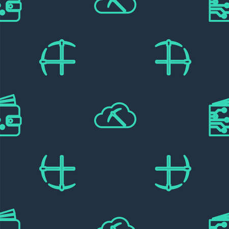 Set line Cryptocurrency cloud mining, Crossed pickaxe and wallet on seamless pattern. Vector