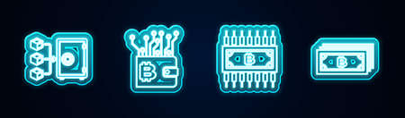 Set line Proof of stake, Cryptocurrency wallet, bitcoin with circuit and . Glowing neon icon. Vector 向量圖像