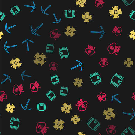 Set line Pickaxe, Cryptocurrency wallet, Processor chip with dollar and cloud mining on seamless pattern. Vector