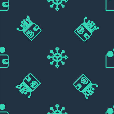 Set line Distribution, Cryptocurrency wallet and on seamless pattern. Vector