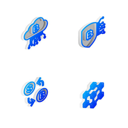 Set Isometric line Shield with bitcoin, Cryptocurrency cloud mining, exchange and Blockchain technology icon. Vector 向量圖像