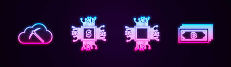 Set line Cryptocurrency cloud mining, Processor chip with dollar, and bitcoin. Glowing neon icon. Vector 向量圖像