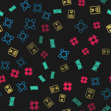 Set line Blockchain technology, Cryptocurrency bitcoin circuit, wallet and Processor on seamless pattern. Vector