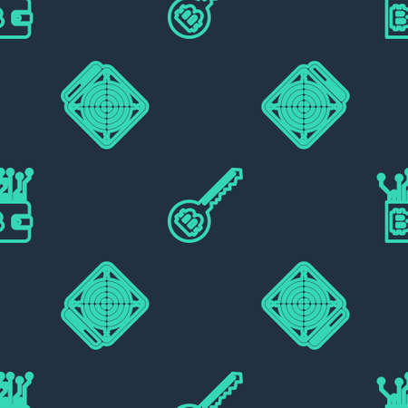 Set line Cryptocurrency key, ASIC Miner and wallet on seamless pattern. Vector 向量圖像