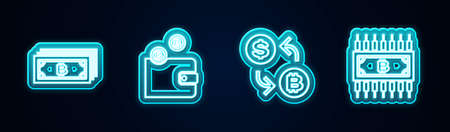 Set line Cryptocurrency bitcoin, wallet, exchange and with circuit. Glowing neon icon. Vector