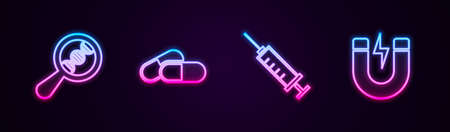 Set line DNA research, search, Medicine pill or tablet, Syringe and Magnet with lightning. Glowing neon icon. Vector