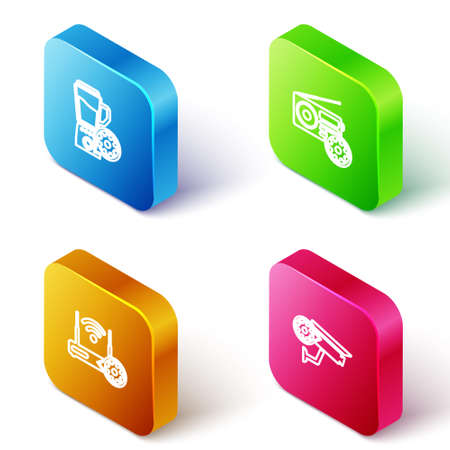 Set Isometric line Blender with bowl setting, Radio, Router and wi-fi and Security camera icon. Vector 矢量图像