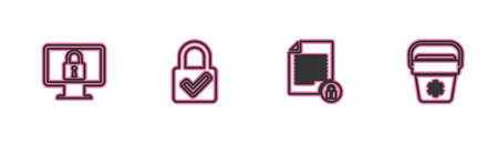 Set line Lock on monitor, Document and lock, check mark and Cooler bag icon. Vector 矢量图像