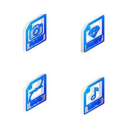 Set Isometric line RUBY file document, RAW, SVG and MP3 icon. Vector