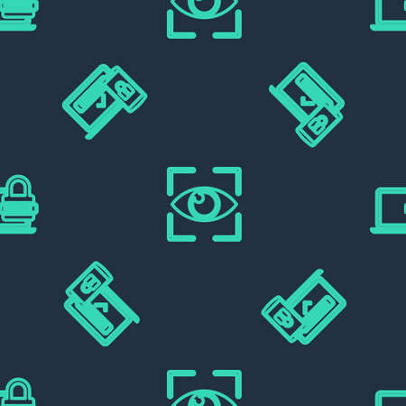 Set line Eye scan, Two steps authentication and Laptop with password on seamless pattern. Vector