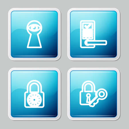 Set line Keyhole with eye, Digital door lock wireless, Safe combination wheel and Lock and key icon. Vector