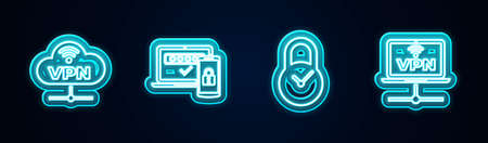 Set line VPN Network cloud connection, Two steps authentication, Padlock with clock and Computer network. Glowing neon icon. Vector
