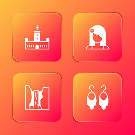 Set Montjuic castle, Spanish woman, Algar waterfall and Earrings icon. Vector Vectores