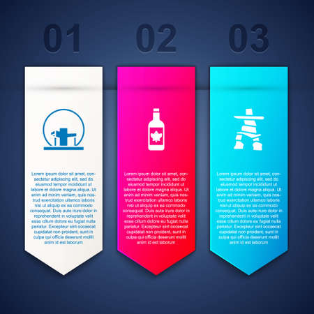 Set Montreal Biosphere, Beer bottle and Inukshuk. Business infographic template. Vector