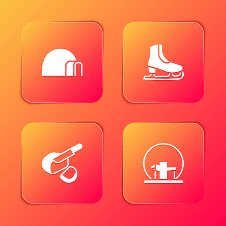 Set Igloo ice house, Skates, Peameal bacon and Montreal Biosphere icon. Vector