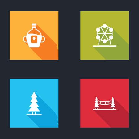Set Maple syrup, Ferris wheel, Canadian spruce and Capilano Suspension Bridge icon. Vector