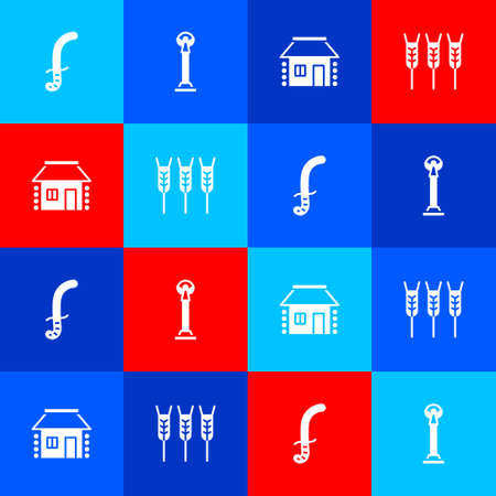 Set Medieval sword, Monument of Independence, Ukrainian house and Wheat icon. Vector