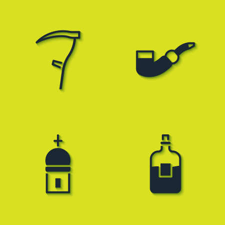 Set Scythe, Bottle of vodka, Church tower and Smoking pipe icon. Vector