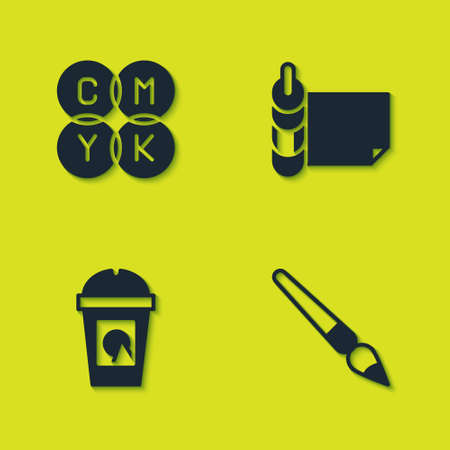 Set CMYK color mixing, Paint brush, Coffee cup to go and Roll paper icon. Vector