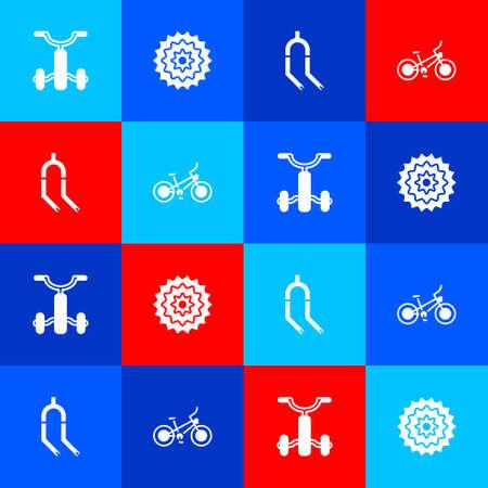 Set Bicycle for kids, cassette, fork and icon. Vector Illusztráció