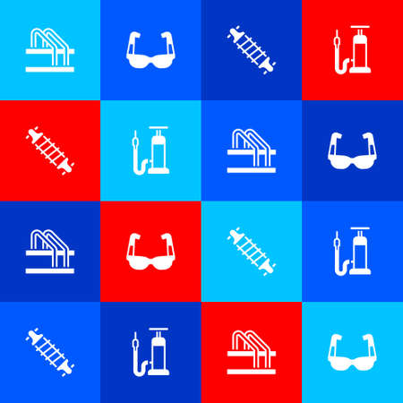 Set Bicycle parking, Sport cycling sunglasses, suspension and air pump icon. Vector Illusztráció
