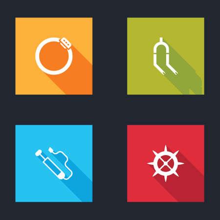 Set Bicycle brake disc, fork, air pump and sprocket crank icon. Vector Illusztráció