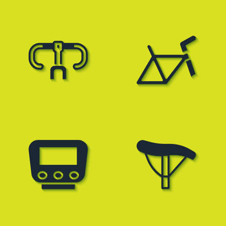 Set Bicycle handlebar, seat, speedometer and frame icon. Vector