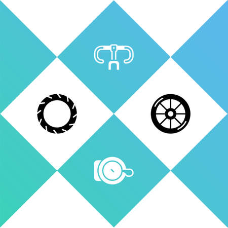 Set Bicycle wheel tire, bell, handlebar and icon. Vector Stock Illustratie