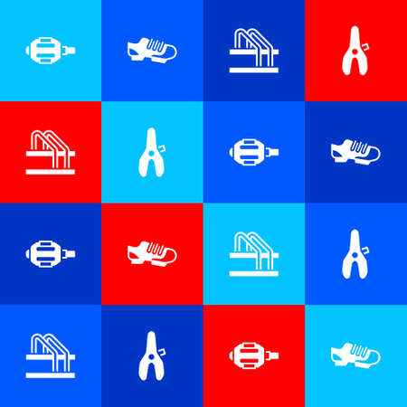 Set Bicycle pedal, shoes, parking and seat icon. Vector Banco de Imagens - 156976101