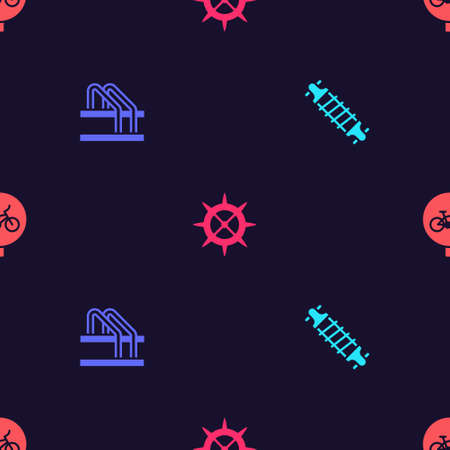 Set Bicycle suspension, parking, sprocket crank and on seamless pattern. Vector