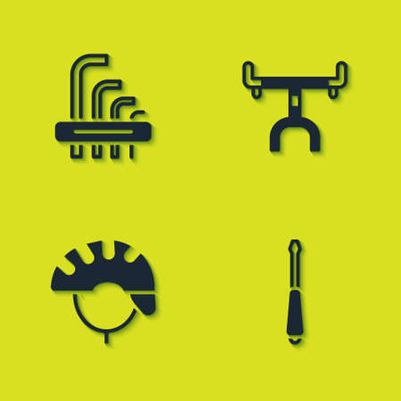 Set Tool allen keys, Screwdriver, Bicycle helmet and handlebar icon. Vector